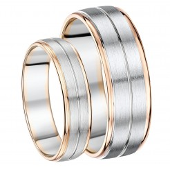 His & Hers 6&7mm Palladium and 9ct Rose Gold Wedding Ring